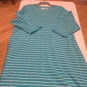 Turquoise -white striped dress